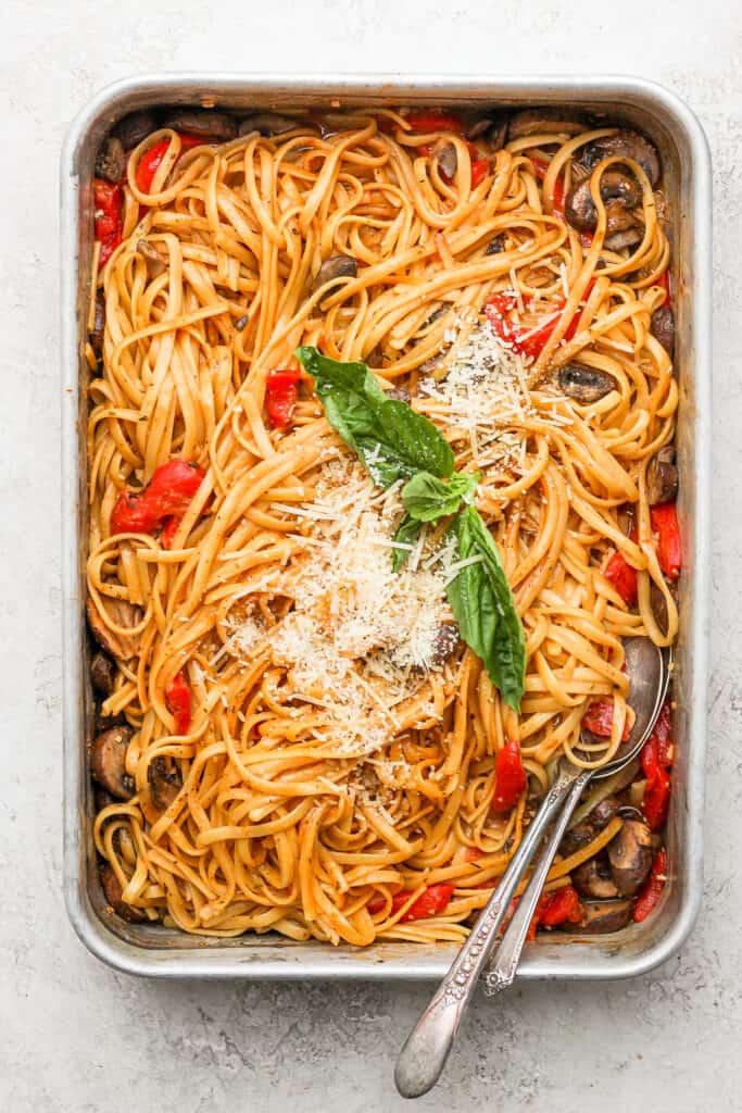 One pot pasta in a metal casserole dish.