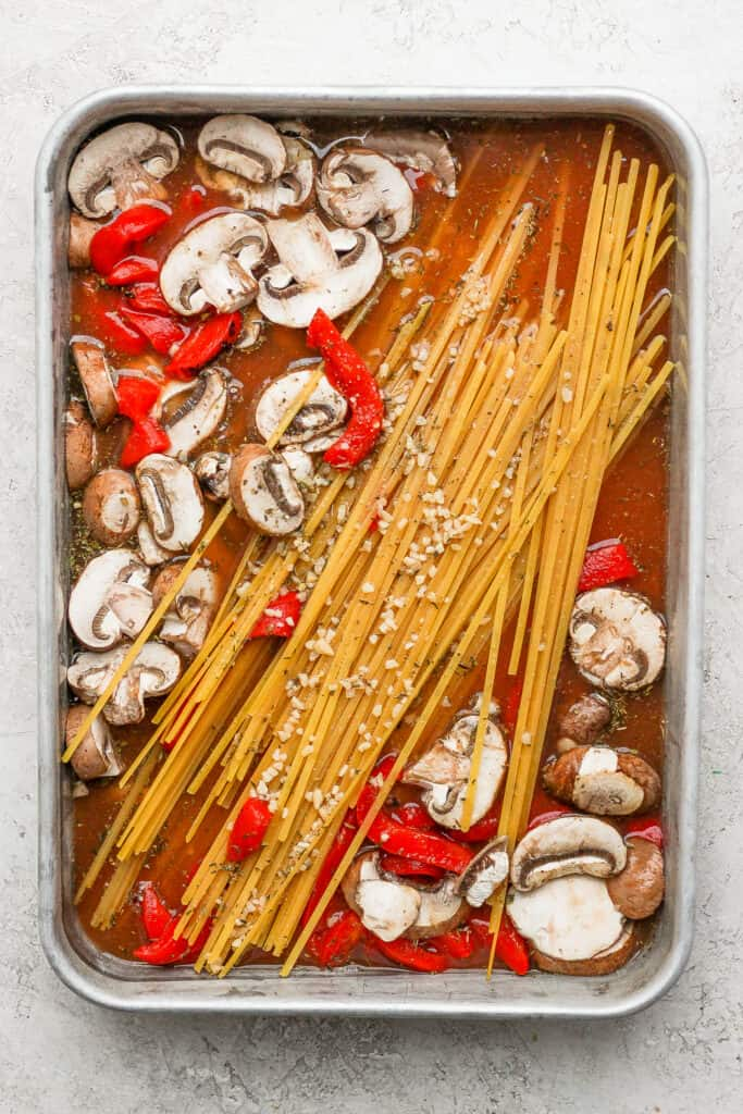 One pot pasta before you put it in the oven.